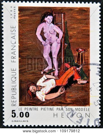 FRANCE - CIRCA 1984: A stamp printed in France shows painter stalled by its model by Jean Helion