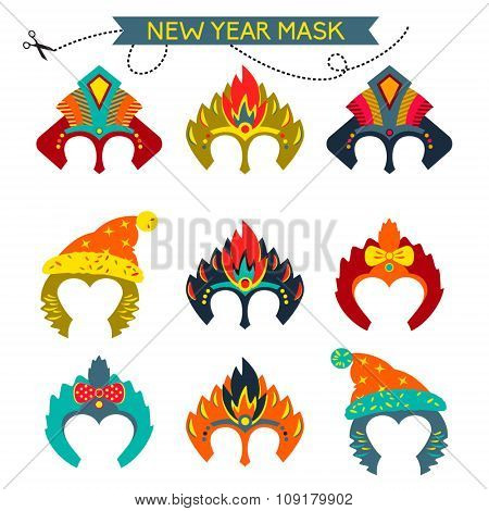 Gorgeus Set of colorful mask christmas monkey.