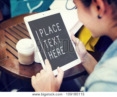 Digital Tablet Coffee Chill Out Commercial Technology Copy Space Concept