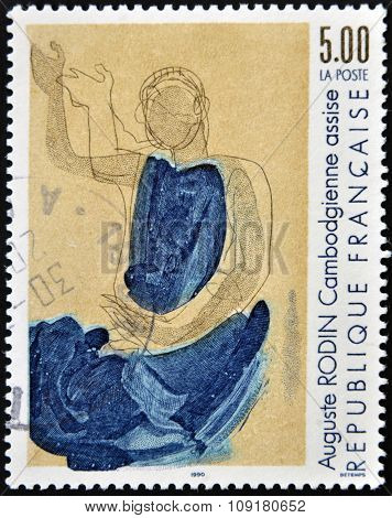 FRANCE - CIRCA 1990: A stamp printed in France shows Cambodian seat by Auguste Rodib circa 1990