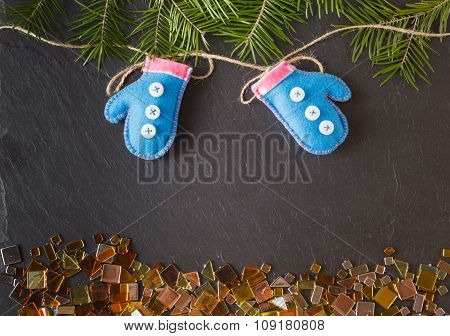 Felt Mittens Hung On A Rope