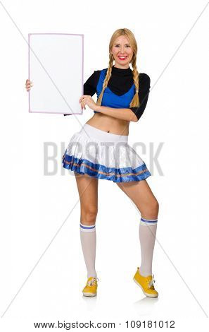 Woman cheerleader isolated on the white