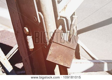 Big Old Rusty Open Padlock