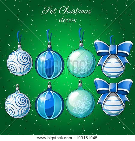 Set of Christmas balls on a green background