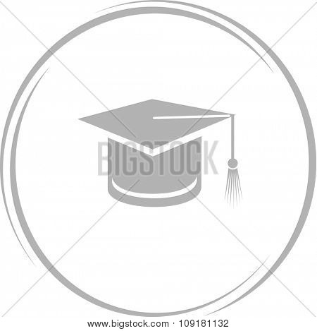 graduation cap. Internet button. Vector icon.