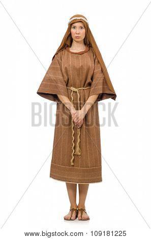 Woman wearing medieval arab clothing on white