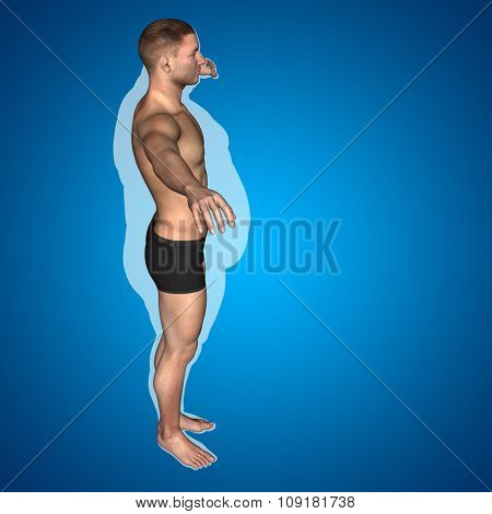 Concept or conceptual 3D fat overweight vs slim fit diet with muscles young man blue gradient background