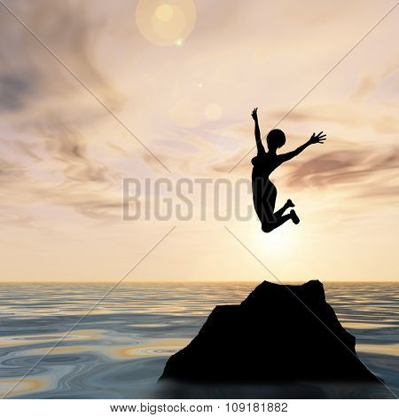 Concept or conceptual young woman or businesswoman silhouette jump happy on cliff over water sunset or sunrise sky background
