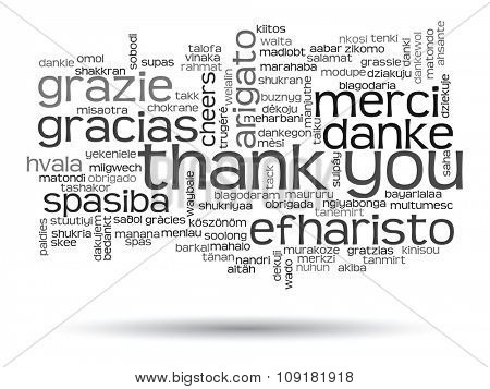 Concept or conceptual abstract thank you word cloud in different languages or multilingual for education or Thanksgiving Day