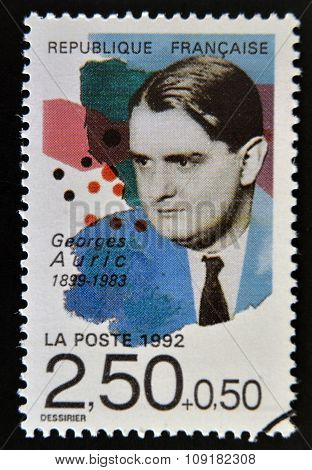 FRANCE - CIRCA 1992: A stamp printed in France shows Georges Auric circa 1992
