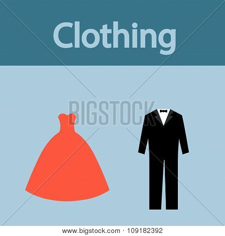 Clothing, Evening Dress And Men's Suit Vector Icons.