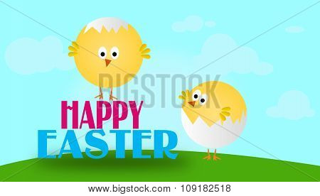 Easter Greeting Card With Chickens