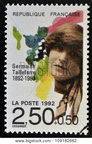FRANCE - CIRCA 1992: A stamp printed in France shows Germaine Tailleferre circa 1992