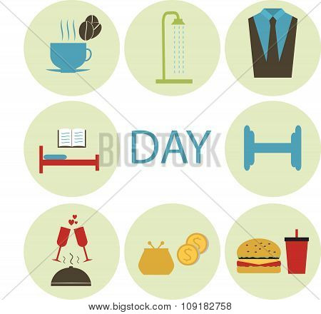 Flat Icons Morning, Day, Food, Sports, Shopping