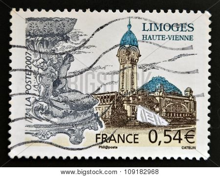 FRANCE - CIRCA 2007: A stamp printed in France shows Limoges circa 2007