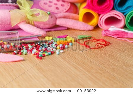 Hobby Leisure Concept. Needlework Objects