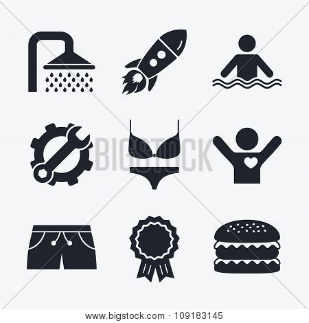Swimming pool icons. Shower and swimwear signs.