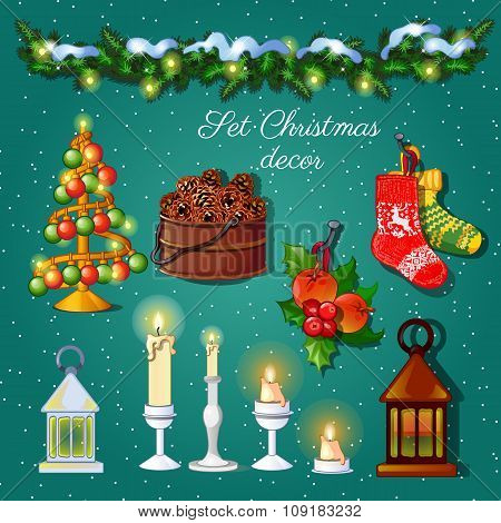 Postcard Christmas snow decoration set on a green background for your design needs