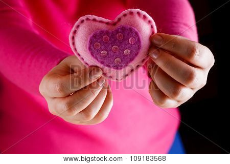 Female In Pink Give Soft Heart