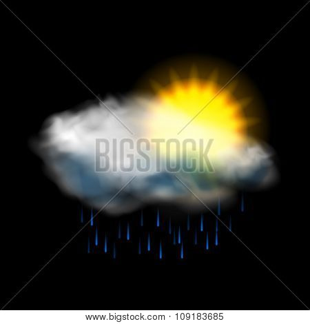 Sun cloud and rain weather icon