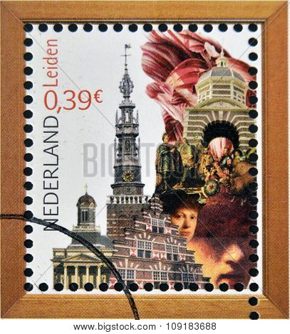 HOLLAND - CIRCA 2006: A stamp printed in Netherlands dedicated to beautiful Holland shows Leiden