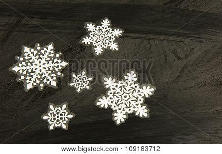 Stickers , Christmas Decoration On Black.horizontal.