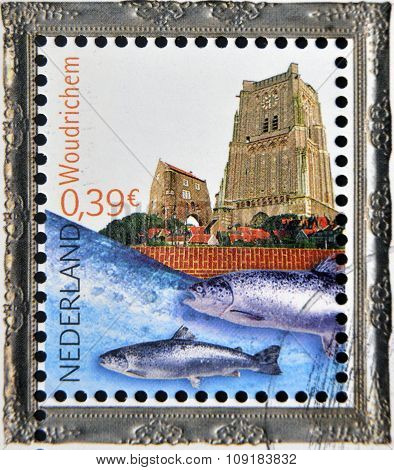 HOLLAND - CIRCA 2006: A stamp printed in Netherlands dedicated to beautiful Holland shows Woudrichem