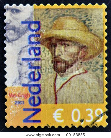 A stamp printed in the Netherlands dedicated to the 150th anniversary of Vincent Van Gogh