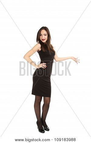 Young Brunette Woman In Black Dress On A White Background