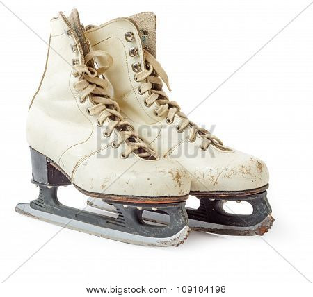 Old White Ice Skating Shoes