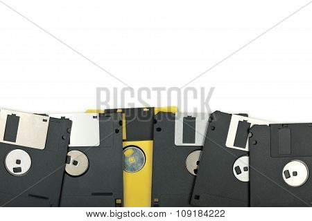 Floppy Disks On White Background