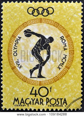 A stamp printed in Hungary shows discobolus devoted to the Olympic games in Rome
