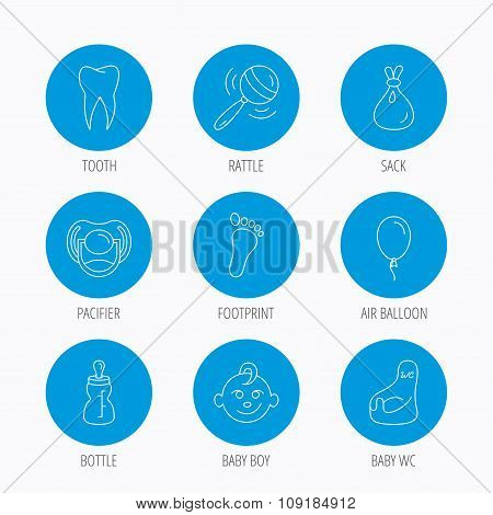 Pacifier, baby boy and bottle icons. Tooth sign.