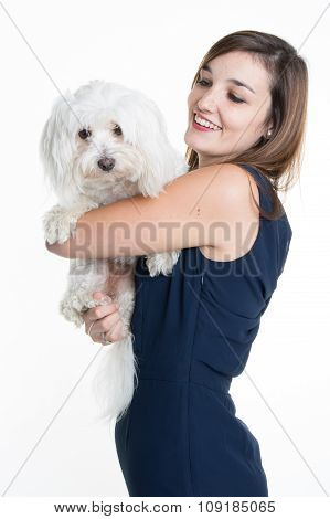 Beautiful Young Woman With A White Dog