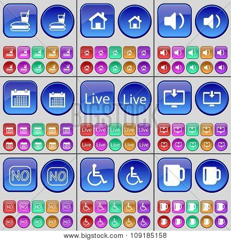 Food, House, Sound, Calendar, Live, Monitor, No, Disabled Person, Cup. A Large Set Of Multi-