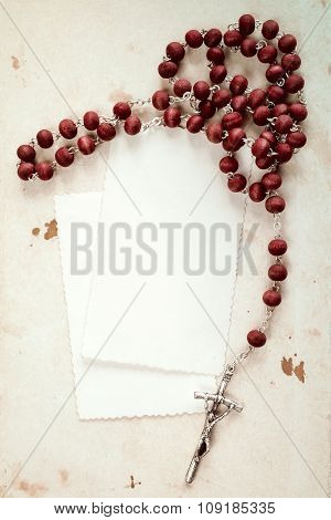 Rosary And Blank Cards