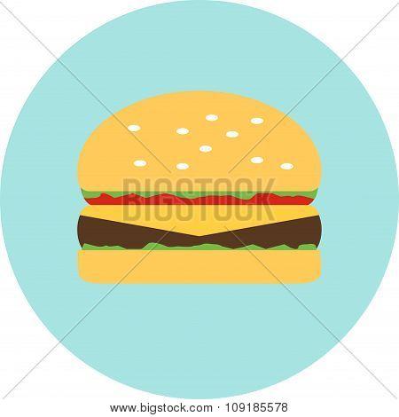 Vector Illustration Of Flat Design Hamburger