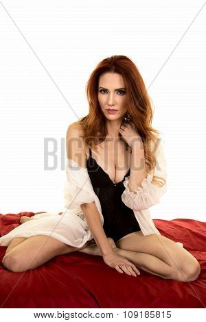 Red Head Woman In White Night Gown Over Black Kneel Looking