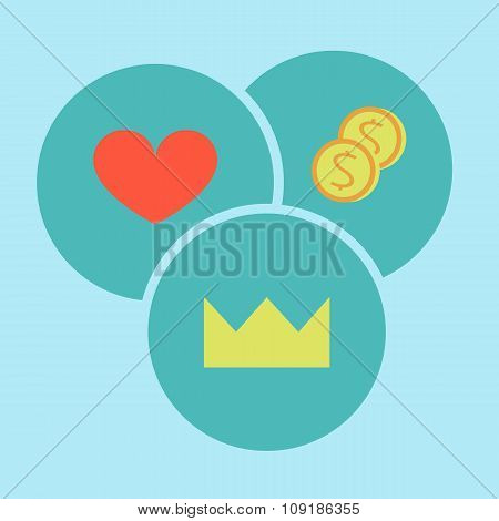 Power, Love, Heart, Money, Selection, Priority, Morality, Icons Flat Design, Vector