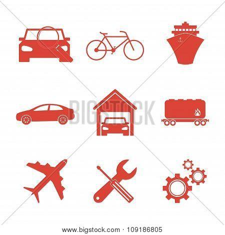 Transportation Icons. Flat Design Style