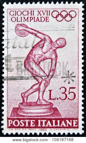 ITALY - CIRCA 1960: stamp printed in Italy shows Statue of the Myrons Discobolus circa 1960