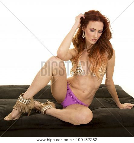 Woman Red Hair Bikini Sit On Black Bench Legs Up