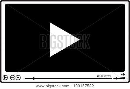 Video Player For Web, Falat Design,  Vector Illustration