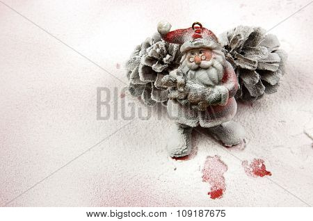 Christmas Decoration,santa Claus Figurine In The Snow.horizontal.