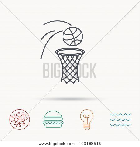 Basketball icon. Basket with ball sign.