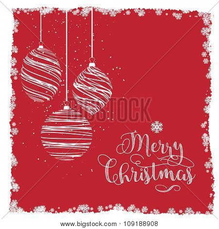 Decorative Christmas background with hanging baubles