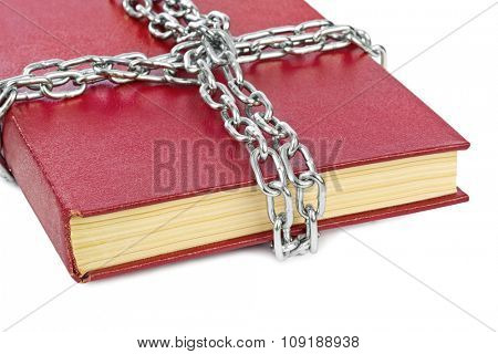 Book and chain isolated on white background