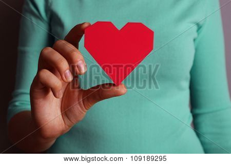 Closeup of plastic puzzle heart in female hand