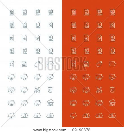 Files And Folders Line Art Design Vector Icon Set. File Types, Folders, Cloud Computing, Save, Cut,