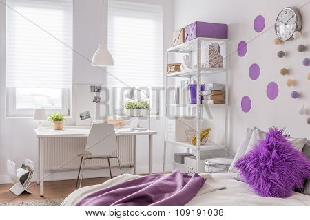 Purple And White Room Design